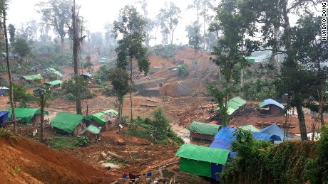 Amber mine in Myanmar.