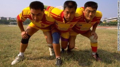 21 Oct 1998:  The Chinese national rugby team front row during a training feature in Guangzhou, Japan.   Mandatory Credit: David Rogers /Allsport