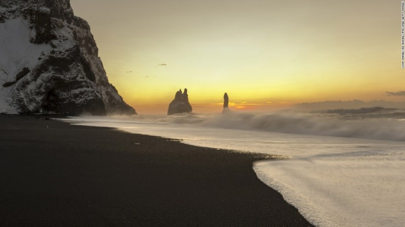 """<strong>Eadu (Reynisfjara, Iceland): </strong>The black sand beach of Reynisfjara, a wild stretch of North Atlantic coastline close to the small town of Vik and Iceland's southernmost tip, appears in """"Rogue One"""" as the stormy planet of Eadu."""