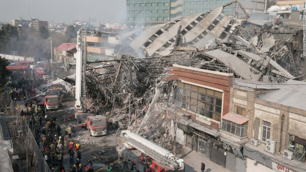 Tehran building collapses after fire