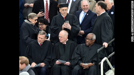 Thomas and his fellow Supreme Court justices at the inauguration of President Trump in January 2017.