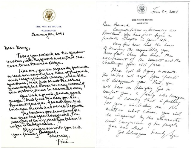 These letters from outgoing to incoming presidents show the grace