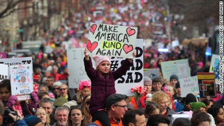 The Women's March of 2017 drew millions to the streets of Boston and other American cities.