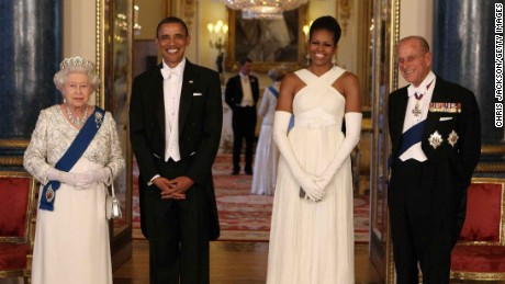 Former US President Barack Obama and wife Michelle pose with Queen Elizabeth II and Prince Philip, Duke of Edinburgh ahead of the 2011 state banquet.