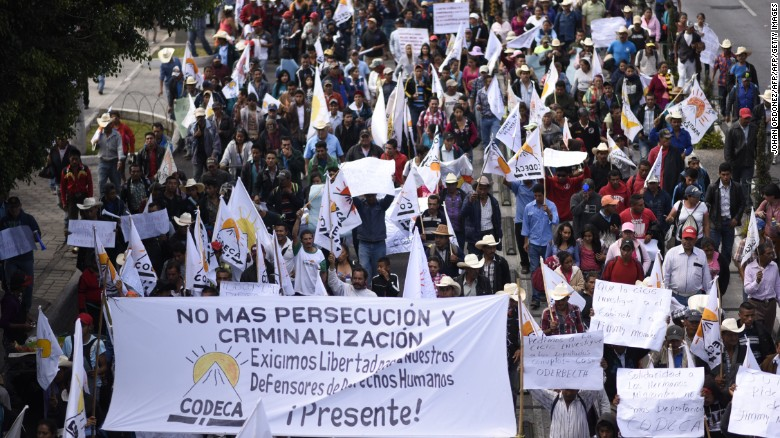 """Guatamalan protesters demand the resignation of President Jimmy Morales for """"his inability to govern"""" and possible acts of corruption."""
