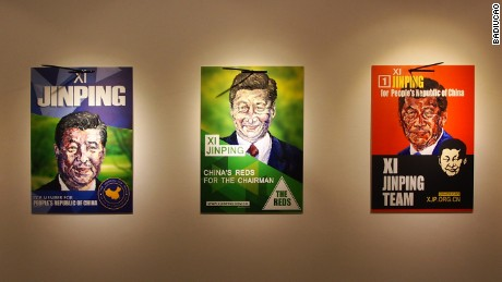 Posters of Chinese President Xi Jinping by dissident artist Badiucao.
