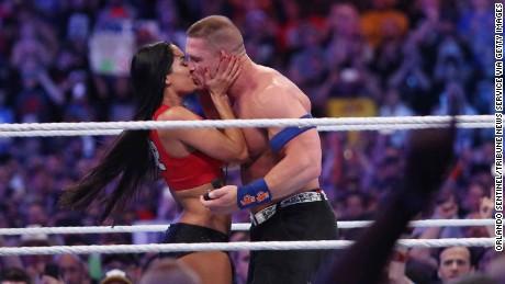 John Cena proposes to Nikki Bella during WrestleMania 33 on Sunday, April 2, 2017 at Camping World Stadium in Orlando, Fla.