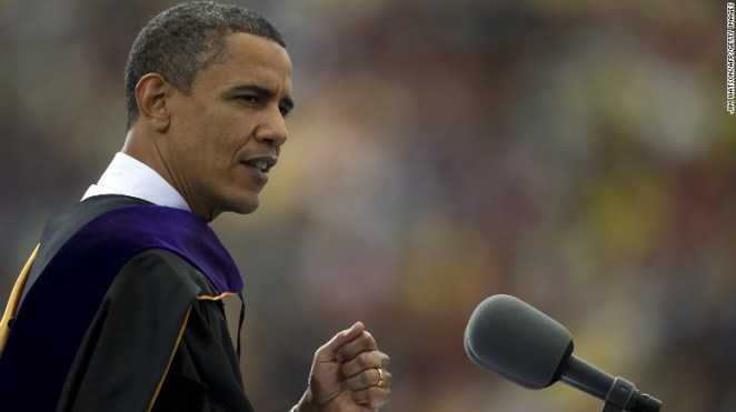 In this May 1, 2010, file photo, then-President Barack Obama delivers the commencement address at the University of Michigan, in Ann Arbor.