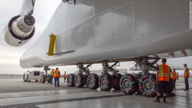 The jet's landing gear has 28 wheels.