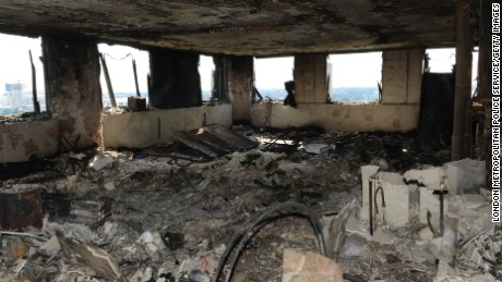 This image, supplied by the London Metropolitan Police Service on June 18, 2017, shows an interior view of a fire-damaged flat in Grenfell Tower.