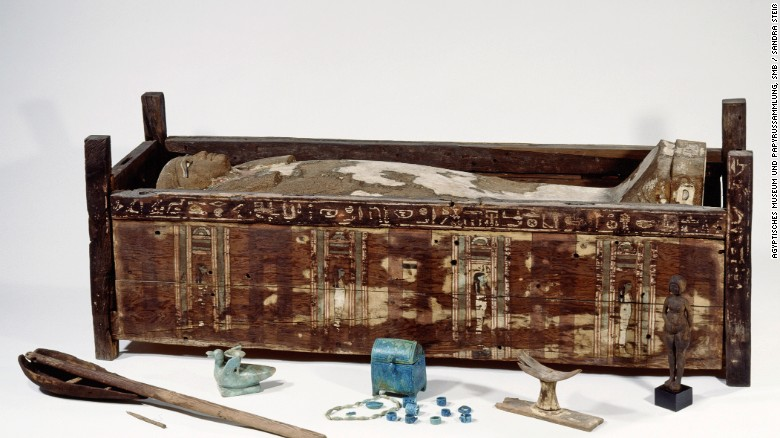 One of the mummies analyzed as part of the study. The human remains were discovered in the 1920s by a historian studying papyrus writings, says Krause.