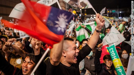 Supporters celebrate at DPP headquarters as Tsai Ing-wen declares her victory in Taiwan's 2016 presidential election.