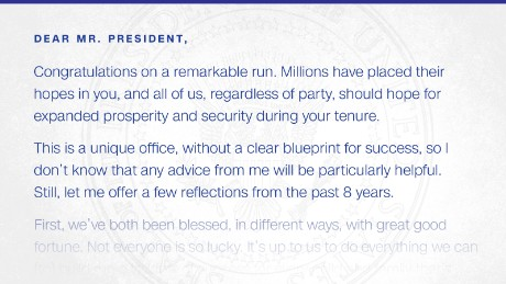 Exclusive: Read the Inauguration Day letter Obama left for Trump