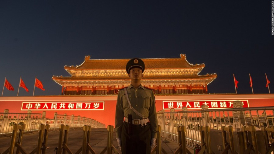 Chess in a black box  China s five most powerful people   CNN A Chinese paramilitary police officer secures the front gate of the  Forbidden City in Beijing on
