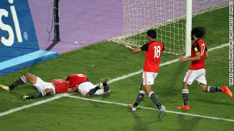 Egypt's players celebrate wining against their World Cup qualifying match against Democratic Republic of Congo.