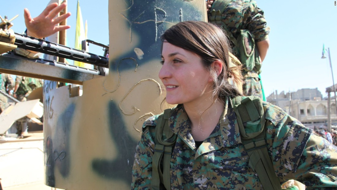 Wulat Romin, 24, from Waan,  has been fighting ISIS for a year and half.  She fought in Raqqa, Tabqa and Al-Hol.