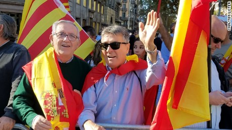 Paco, left, and Emilio in Barcelona on Sunday say Catalonia has been taken over by irresponsible anti-democratic forces.