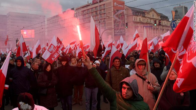 Tens of thousands attended the march in Warsaw.