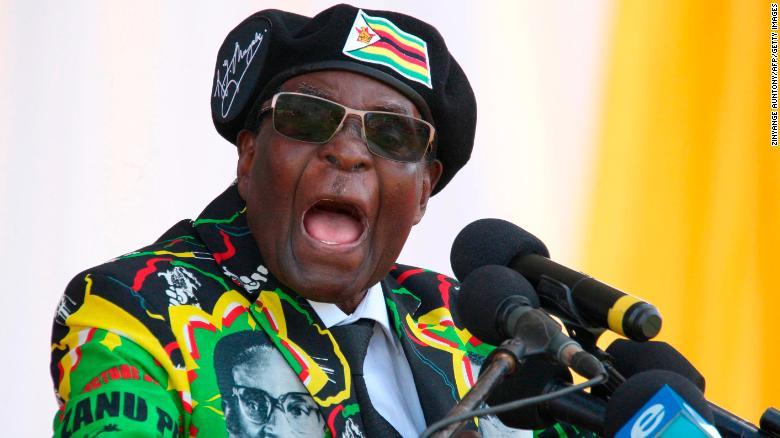 Mugabe addresses a ZANU-PF youth rally in early November.