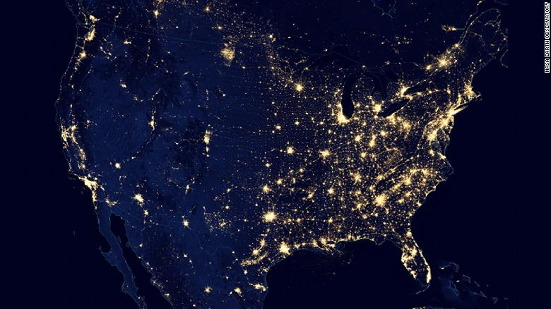The United States at night as seen by the Suomi NPP satellite in 2012.