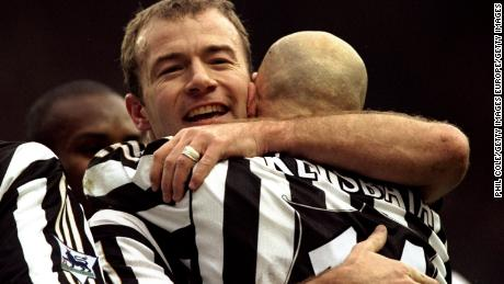In 1999, Alan Shearer, of Newcastle United, celebrates his goal   during an FA Carling Premiership.