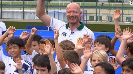 Alan Shearer with children from the Po Leung Kok Foundation at Hong Kong Football Club.