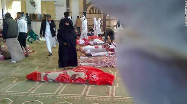 Victims are seen on the floor of al Rawdah mosque following the gun and bomb attack Friday.