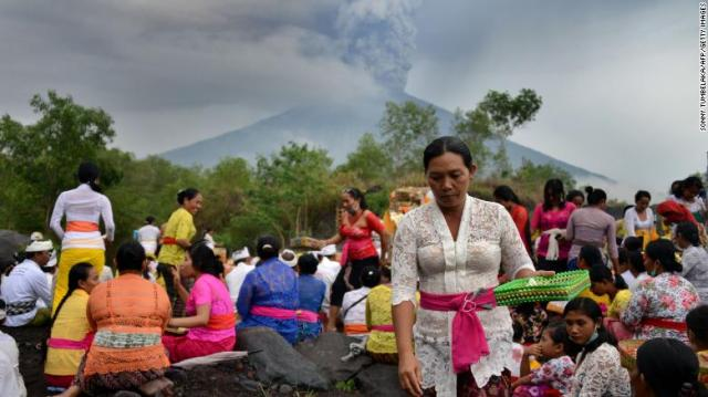 Balinese Hindus pray near Mount Agung in hope of preventing a volcanic eruption Saturday.