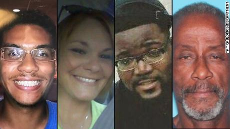 Left to right: Anthony Naiboa, Monica Hoffa, Benjamin Mitchell and Ronald Felton were separately shot and killed recently in Tampa.
