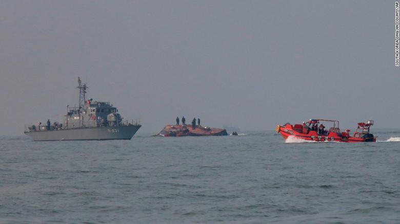 The capsized fishing boat had crashed with a refueling vessel near Incheon, South Korea.