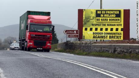Traffic crosses the border into Northern Ireland from the Irish Republic near Dundalk.