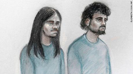 This court artist sketch shows Naa'imur Zakariyah Rahman, left, and Mohammed Aqib Imran in the dock at Westminster Magistrates' Court in London on Wednesday.