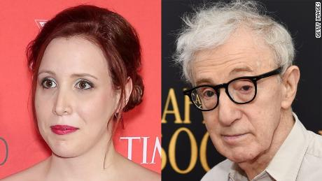 Dylan Farrow, left, now 35, and her father Woody Allen.