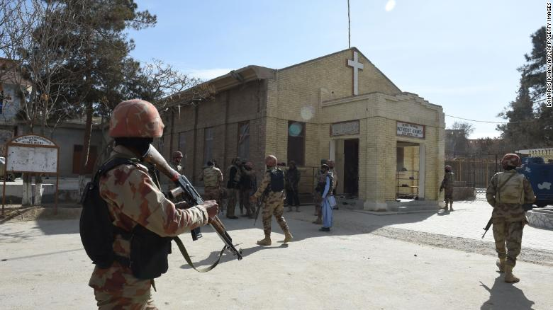 Pakistani security forces at the church following the attack.