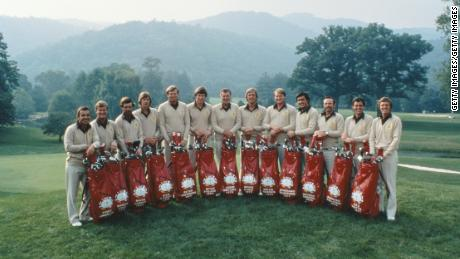 The first European Ryder Cup team lines up in 1979 in West Virginia, USA