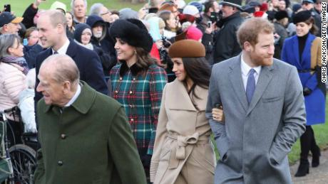 Prince William, Duke of Cambridge, Prince Philip, Duke of Edinburgh, Catherine, Duchess of Cambridge, Meghan Markle and Prince Harry walk to church.