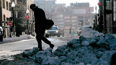 Trudging through the snow in Boston.