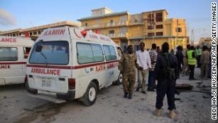Aftermath of a bombing in Mogadishu, Somalia.