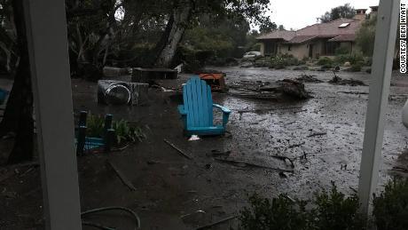 Debris litters the area near Hyatt's home Tuesday in Montecito in Santa Barbara County.