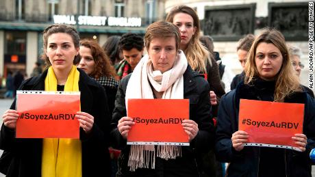 French feminist Caroline de Haas (center) has criticized Tuesday's letter in Le Monde. Here, she is shown protesting with others against violence against women in Paris last November.