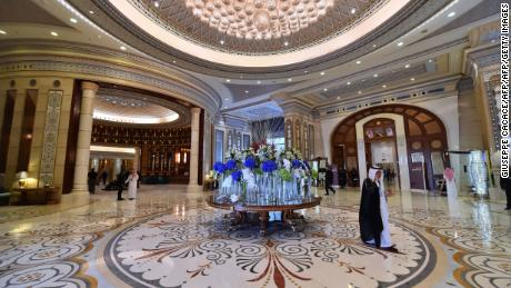 The Ritz-Carlton in Riyadh on May 21, 2017, during US President Donald Trump's visit.