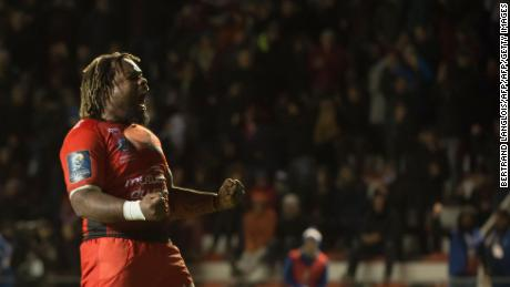 RC Toulon's French centre Mathieu Bastareaud celebrates at the final whistle of the Champions Cup rugby union match RC Toulon vs Bath at The Mayol Stadium in Toulon, southeastern France on December 9, 2017.  / AFP PHOTO / BERTRAND LANGLOIS        (Photo credit should read BERTRAND LANGLOIS/AFP/Getty Images)