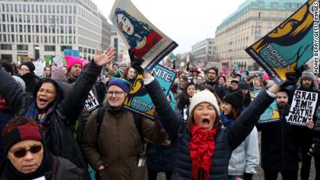 Activists participate in a demonstration for women's rights on January 21, 2018, in Berlin, Germany.