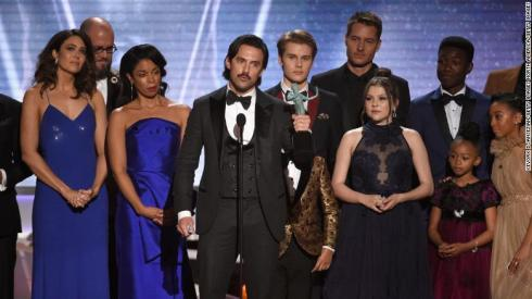 "The cast of ""This Is Us"" accepts the award for outstanding drama series at the 2018 SAG Awards."