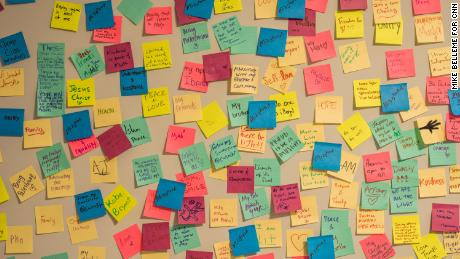 On a bulletin board at The Light House are sticky notes posted by visitors. They are meant to be messages of hope and inspiration.