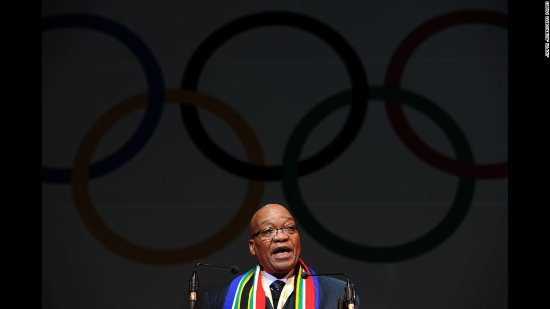 Zuma addresses dignitaries during the opening ceremony of an International Olympic Committee session in July 2011. The IOC was meeting to decide which city would host the 2018 Winter Games.