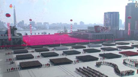 A screenshot from North Korean state television shows the scale of the military parade.