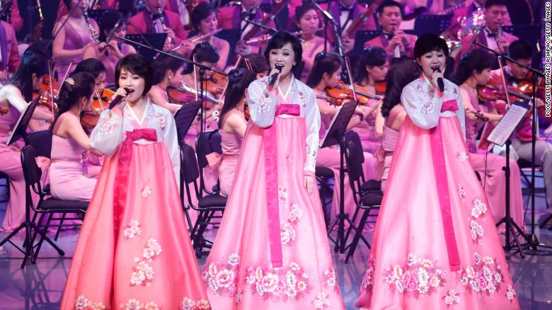 North Korea's Samjiyon Orchestra performs on February 8, 2018 in Gangneung, South Korea.  The performers are staying on a ferry that brough them to South Korea.