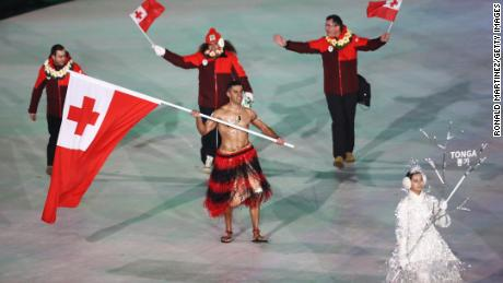 Shirtless Tongan makes Olympic return