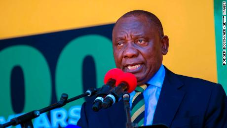 Cyril Ramaphosa speaks at Cape Town on February 11 from the same spot where Nelson Mandela addressed South Africans after being released from jail.